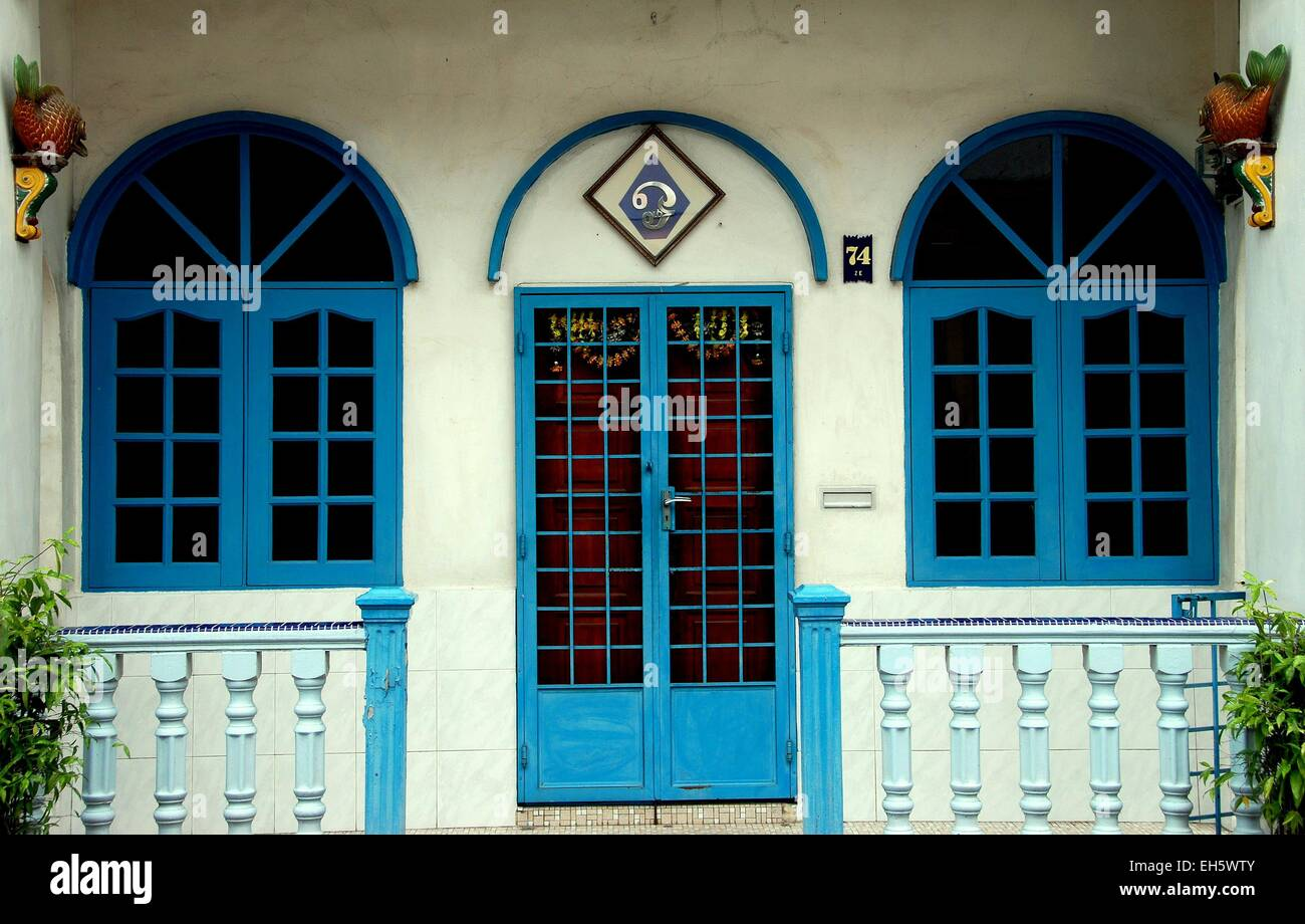 Melaka Malaysia Early 20th century Chinese house with arched blue windows and door on Jalan Parameswara & Melaka Malaysia: Early 20th century Chinese house with arched blue ...