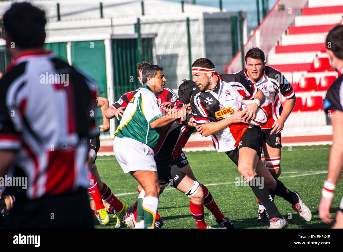 Gibraltar - 7th March 2015 - Gibraltar were beaten 8-33 by Malta in the friendly international rugby match played - Stock Image