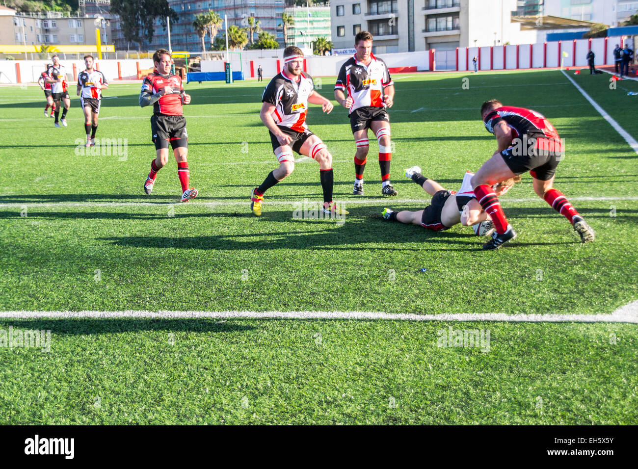Gibraltar - 7th March 2015 - Gibraltar were beaten 8-33 by Malta in the friendly international rugby match played Stock Photo