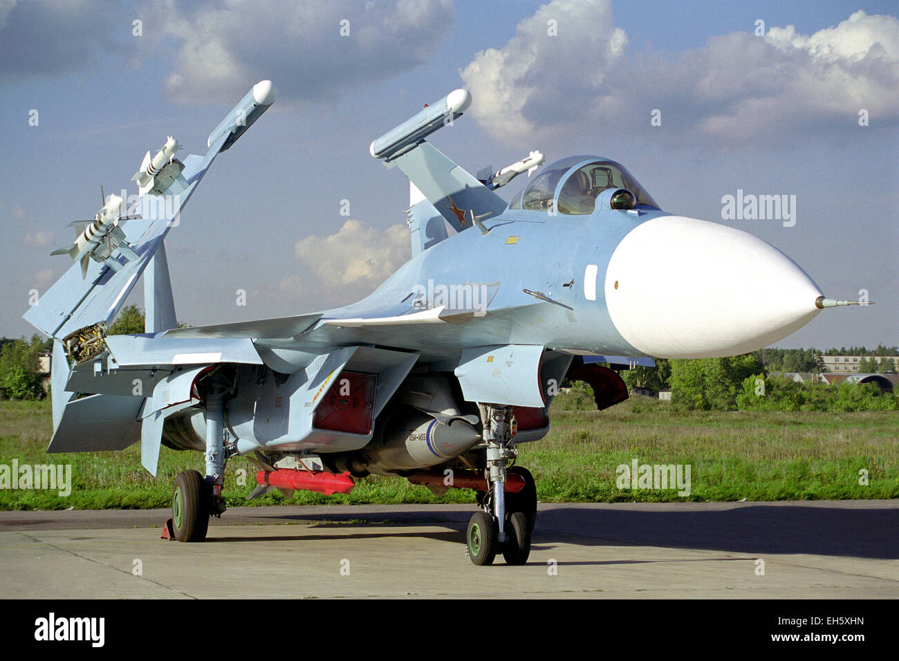 Carrier-based fighter Su-33. Zhukovsky, air show MAKS-99. - Stock Image