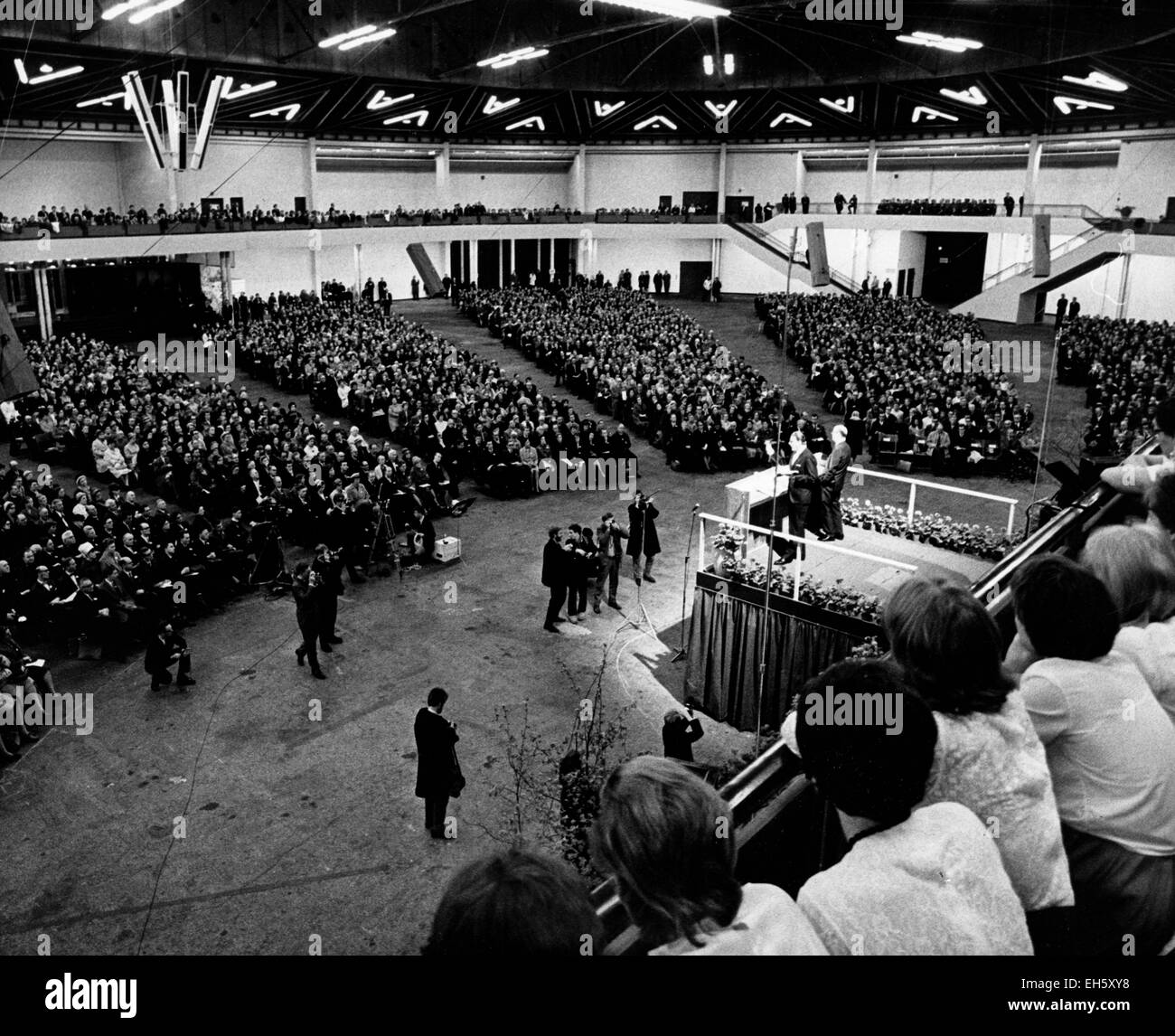 May 10, 1965 - Copenhagen, Denmark - Reverend Billy Graham gives a speech to 8,000 people in Copenhagen before a - Stock Image