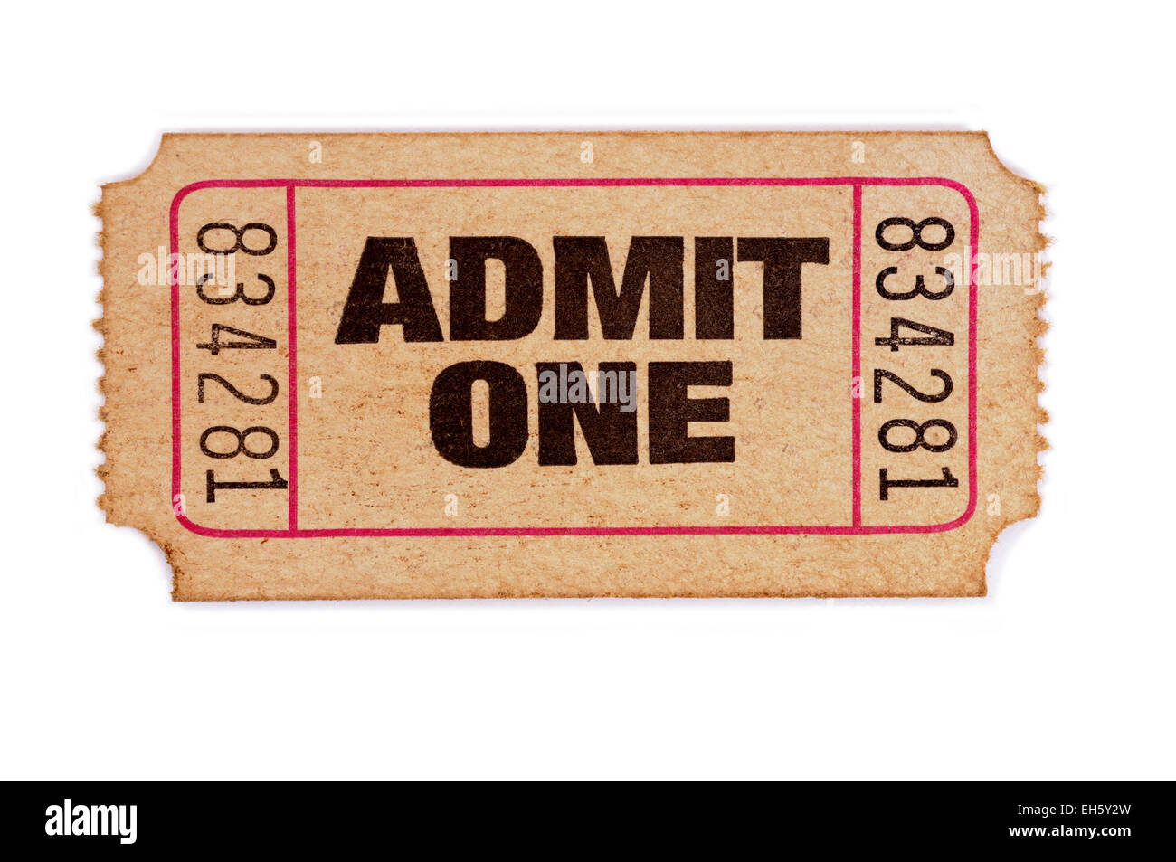 old admit one ticket on a white background stock photo 79421633 alamy