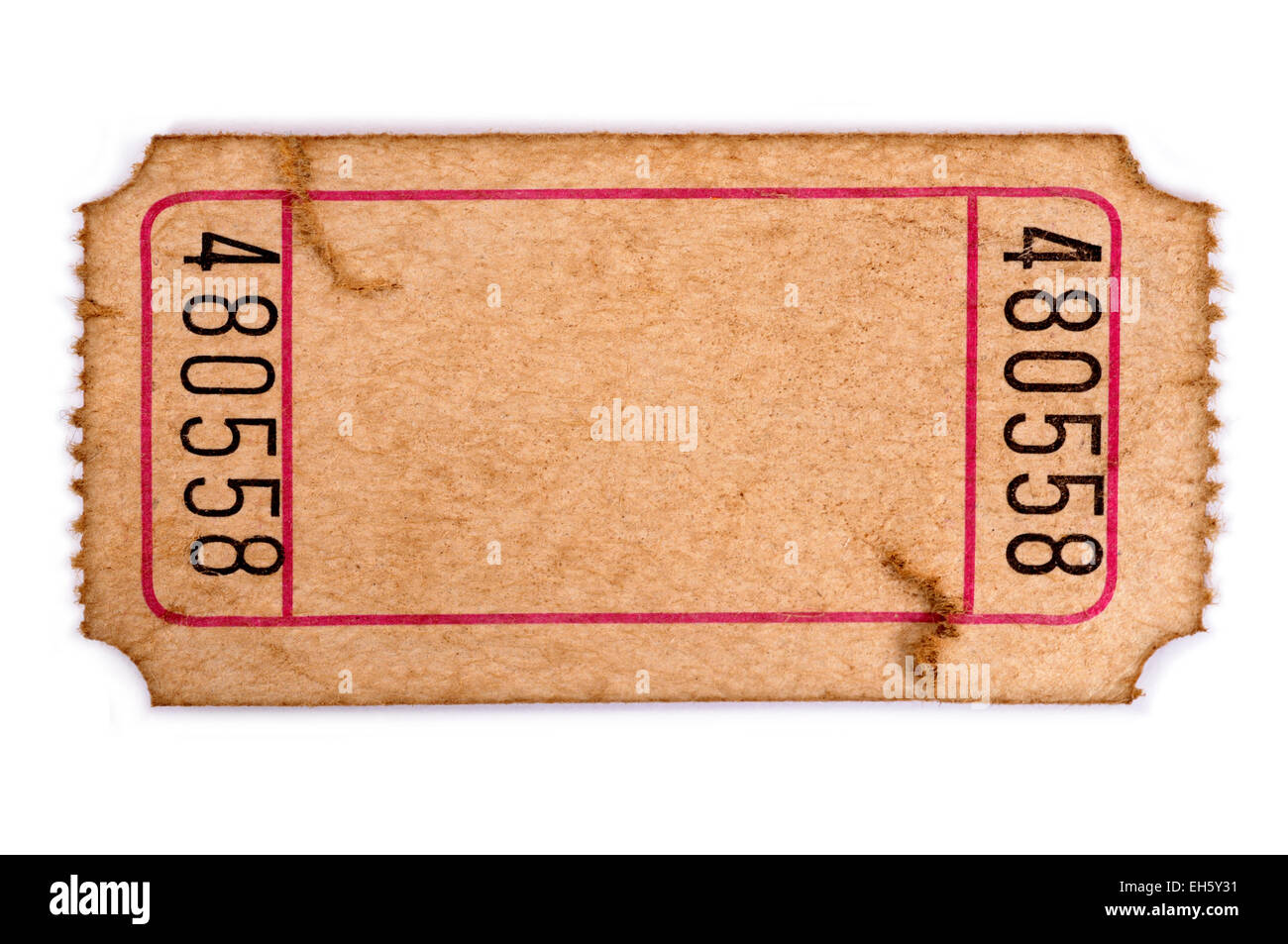 old torn blank movie or raffle ticket isolated on a white background