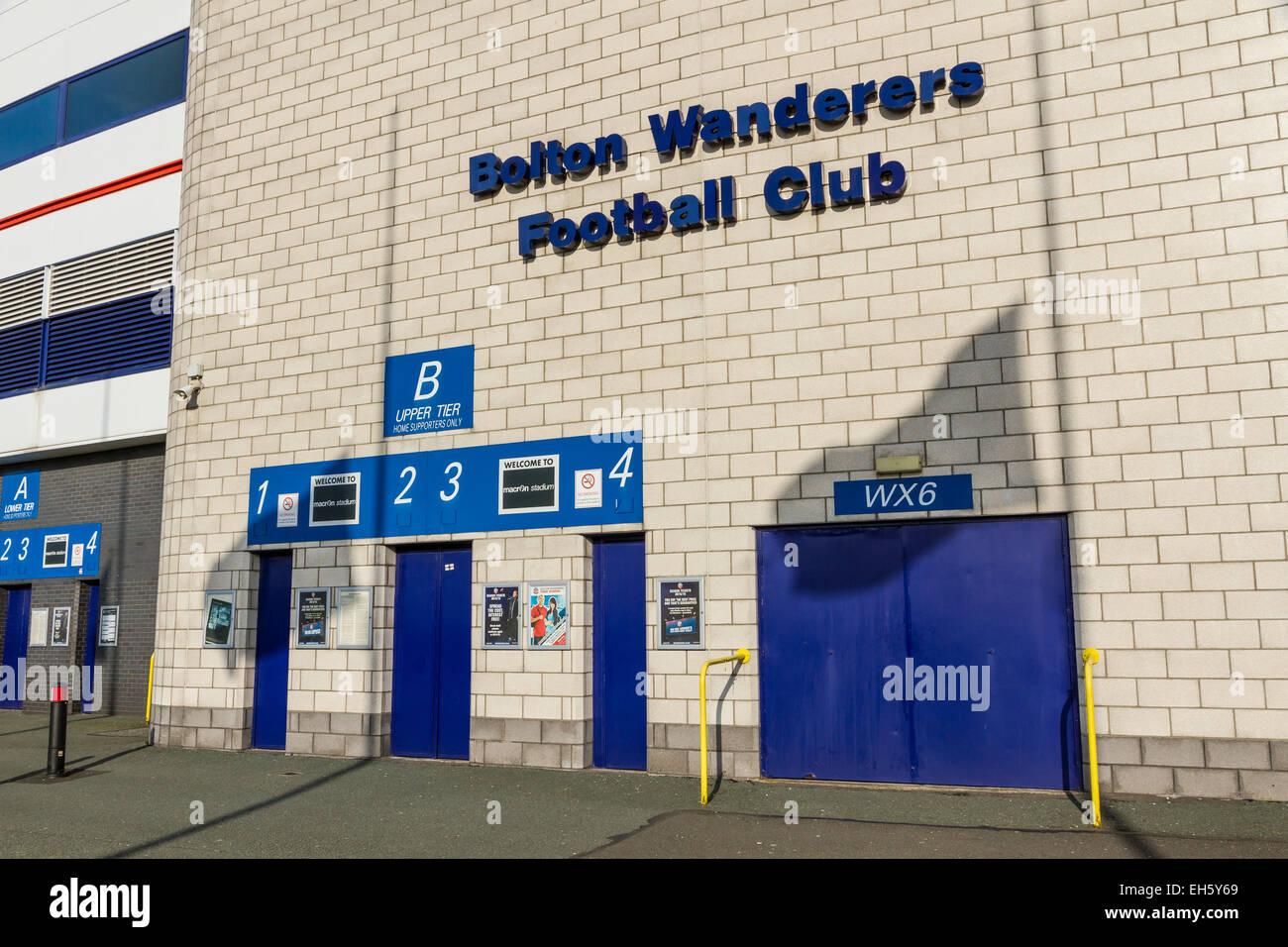 Turnstiles at Bolton Wanderers Reebok Macron Stadium in Horwich, Bolton. - Stock Image