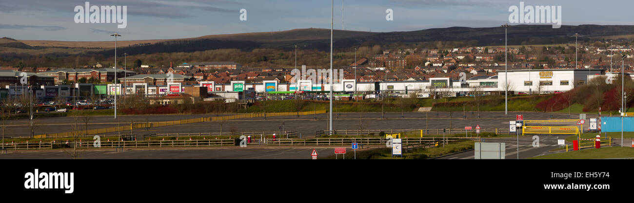 Panoramic view of Middlebrook Retail Park, in Horwich, Bolton - Stock Image