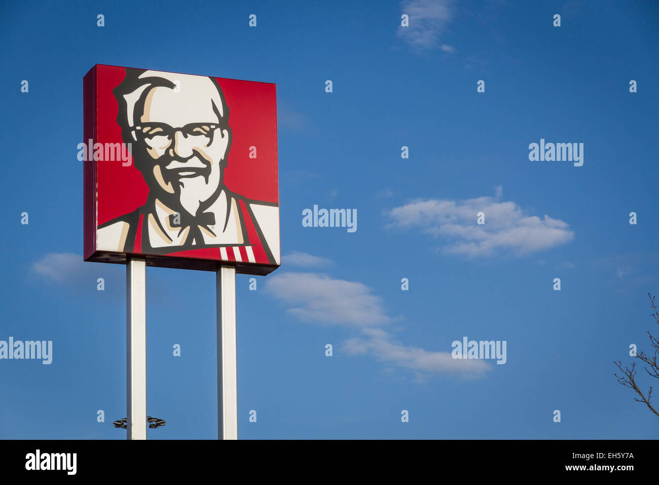 Colonel Sanders sign outside a KFC Kentucky Fried Chicken - Stock Image