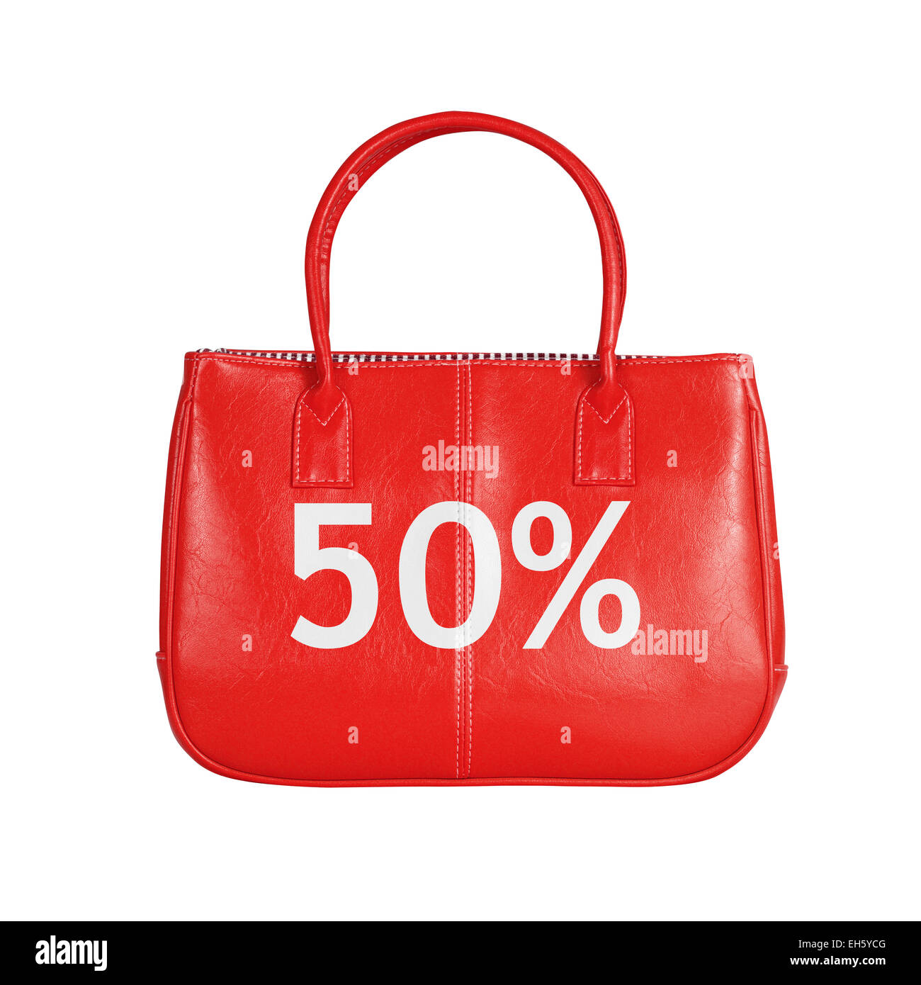 Fifty percent sale bag. Design element isolated on white background with clipping path - Stock Image