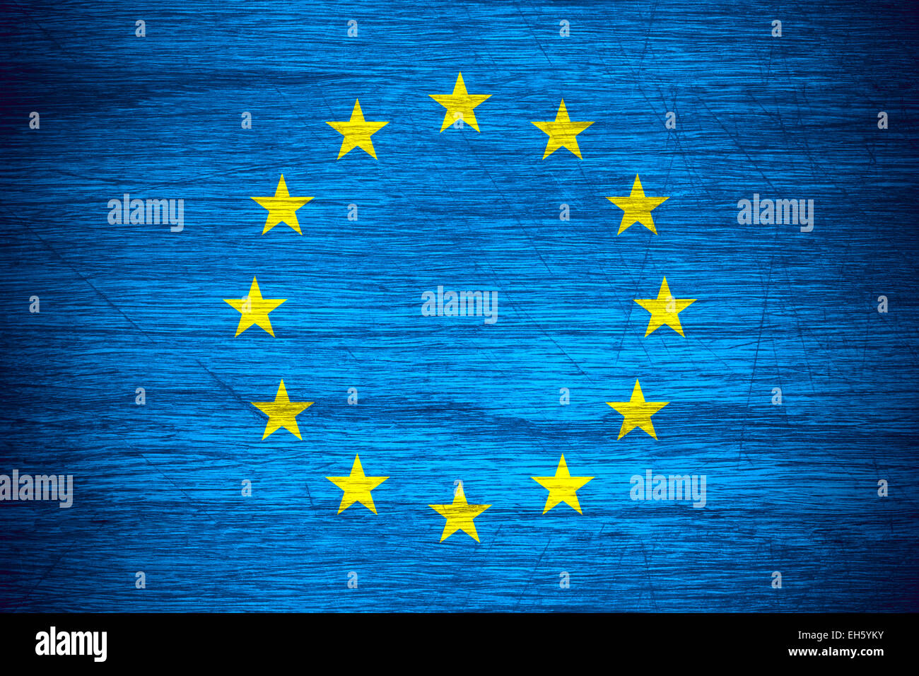European Union flag or Europe banner on wooden texture - Stock Image