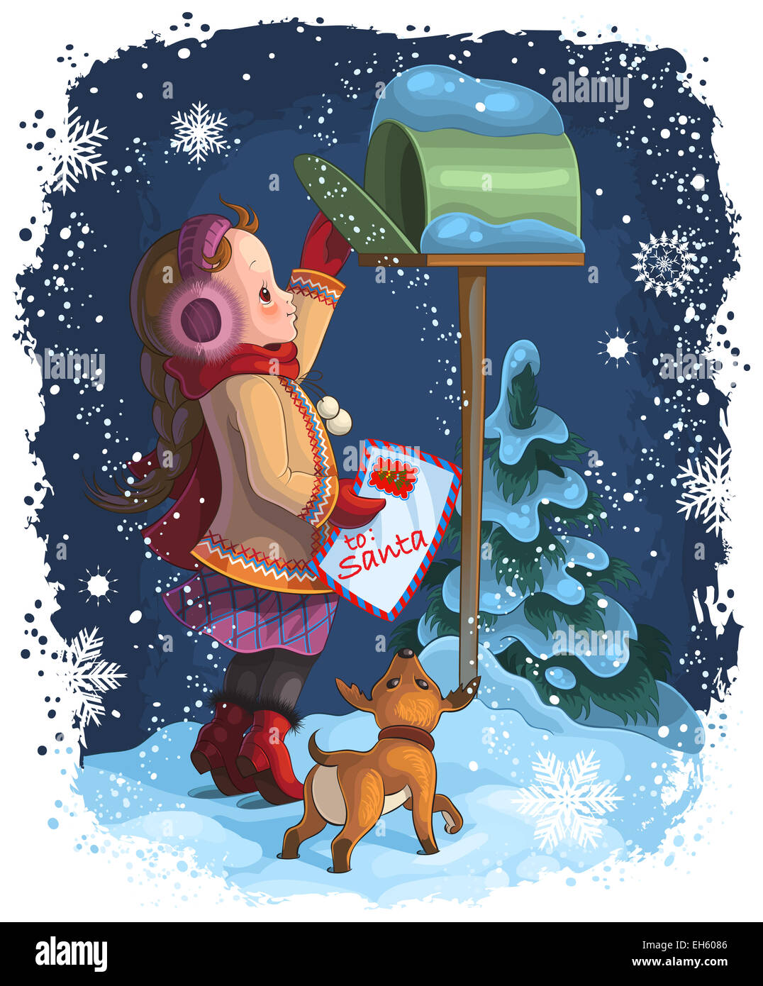 Little girl and her puppy posting a letter to Santa. Christmas holiday illustration - Stock Image