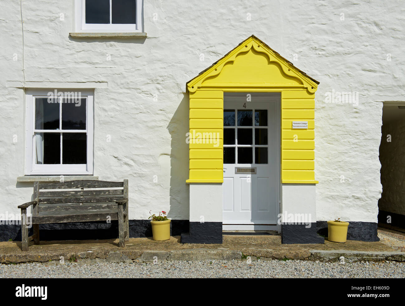 Cottage in Charlestown, Cornwall, England UK - Stock Image