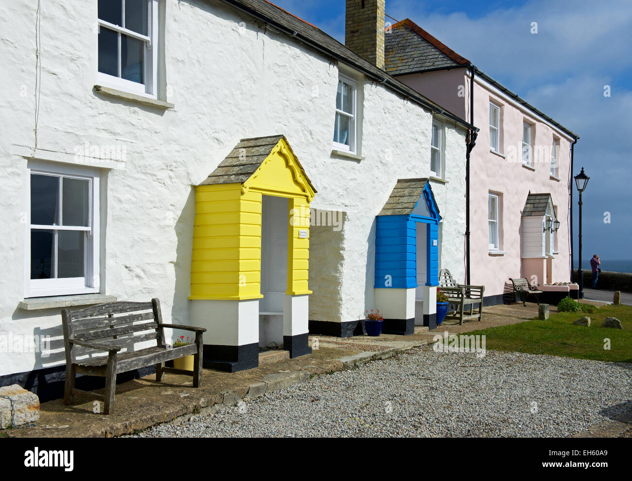 Cottages in Charlestown, Cornwall, England UK - Stock Image