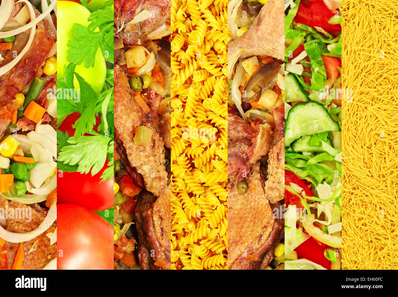 Food collage made from appetizing meat and vegetable images . - Stock Image