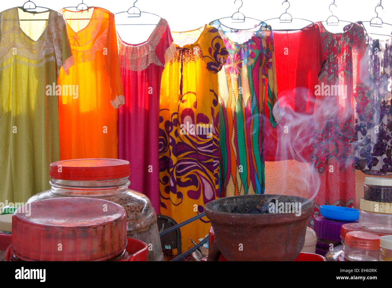 Gowns for sale at Wednesday (women's) market, Ibra, Oman - Stock Image