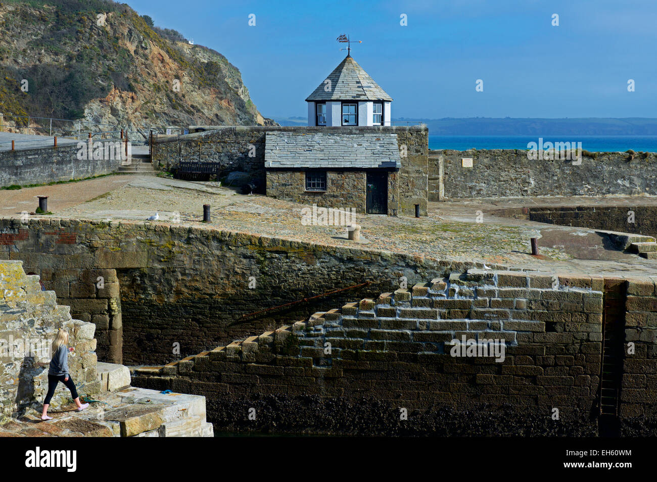 Harbour quay at Charlestown, Cornwall, England UK - Stock Image