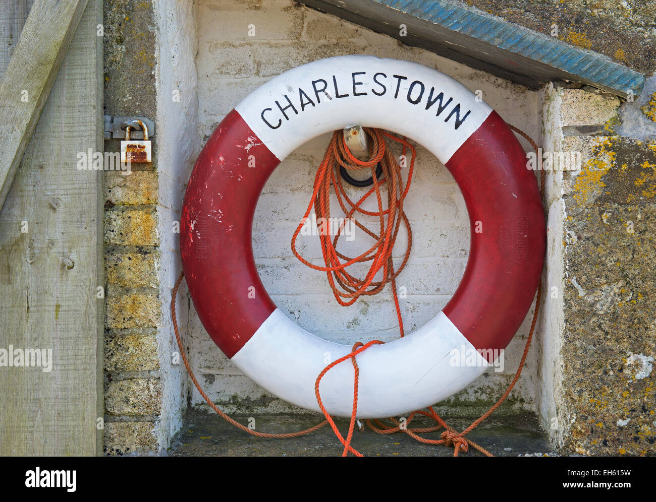 Lifebuoy at Charlestown, Cornwall, England UK - Stock Image