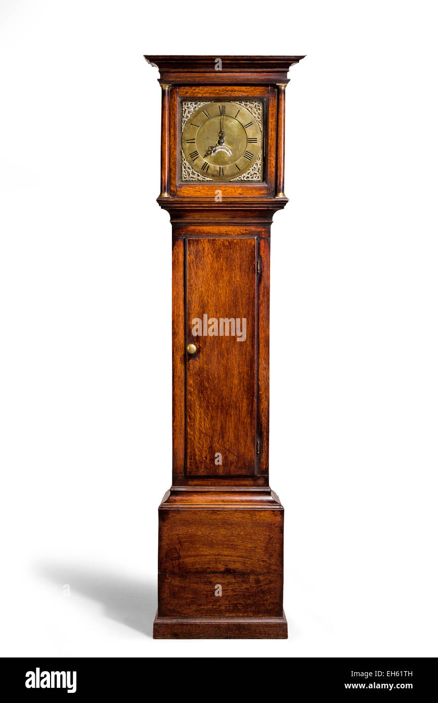 English antique tall long case clock known as grandfather clock for halls - Stock Image