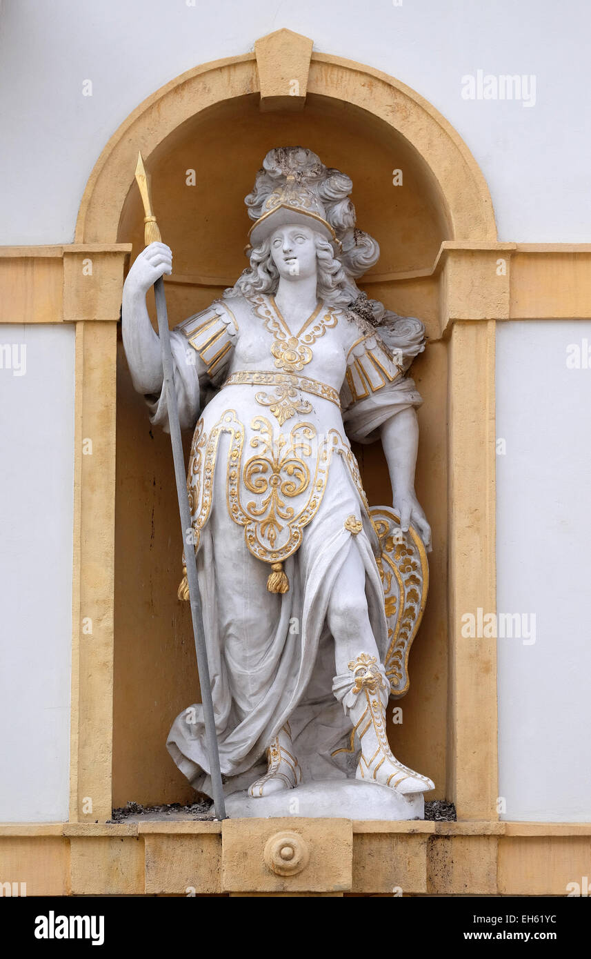 Minerva, Roman goddess of wisdom and sponsor of arts, trade, and strategy, Arsenal (Zeughaus) historic center of - Stock Image