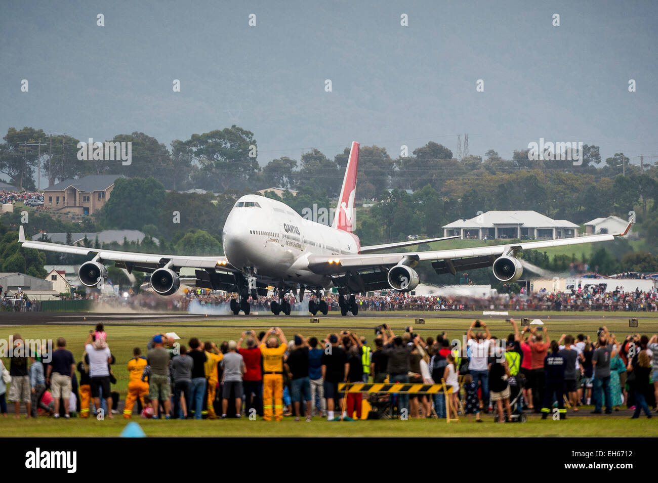 Sydney, Australia. 8th March, 2015. Qantas retired its first Boeing 747-400, VH-OJA, which flew a record non-stop Stock Photo
