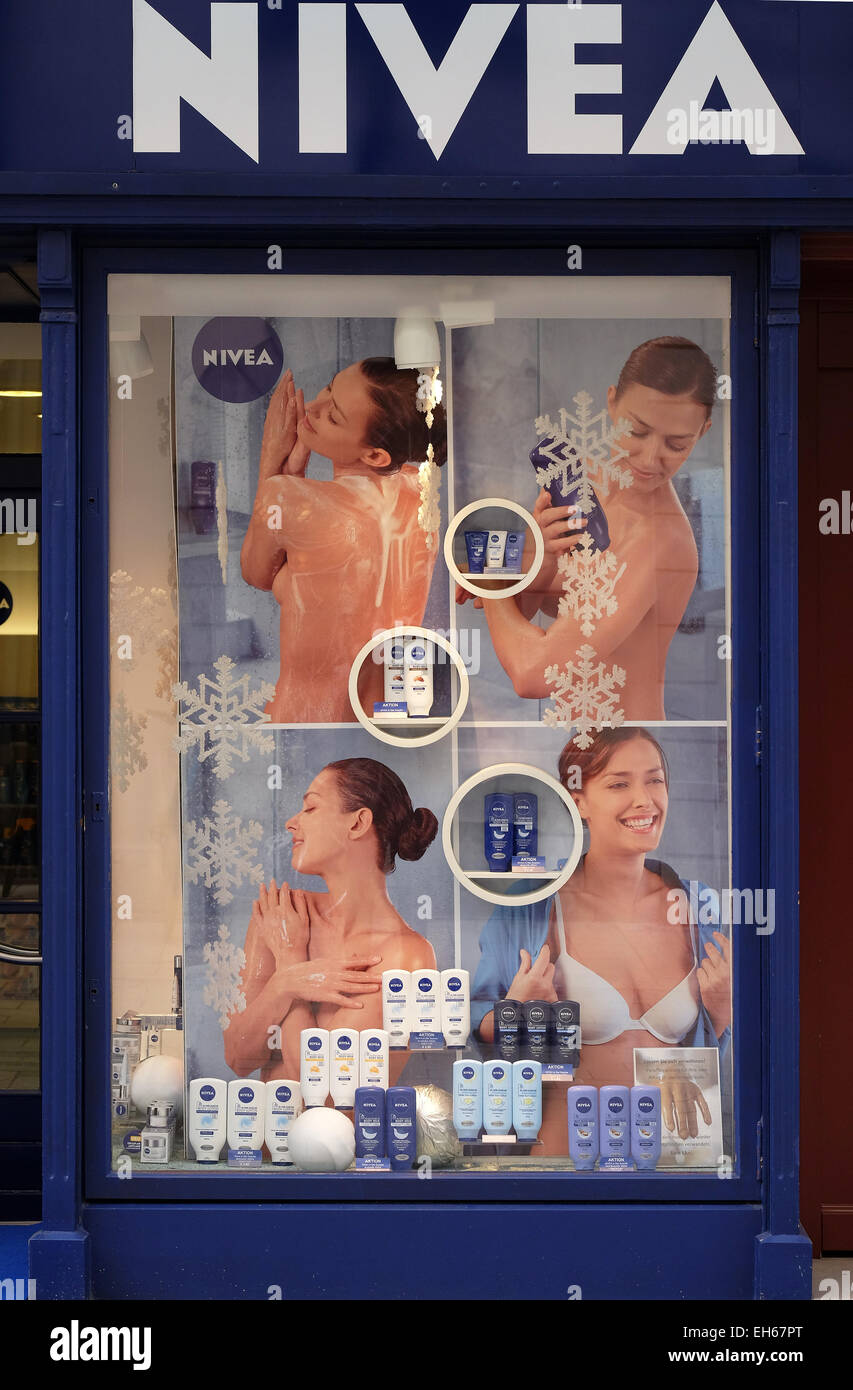 Nivea Shop. Nivea is a global skin-and body-care brand that is owned by the German company Beiersdorf, Graz, Styria, - Stock Image