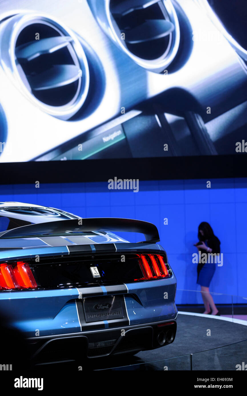 Ford model Mustang of 2015 at demo stage on Autoshow Toronto. - Stock Image