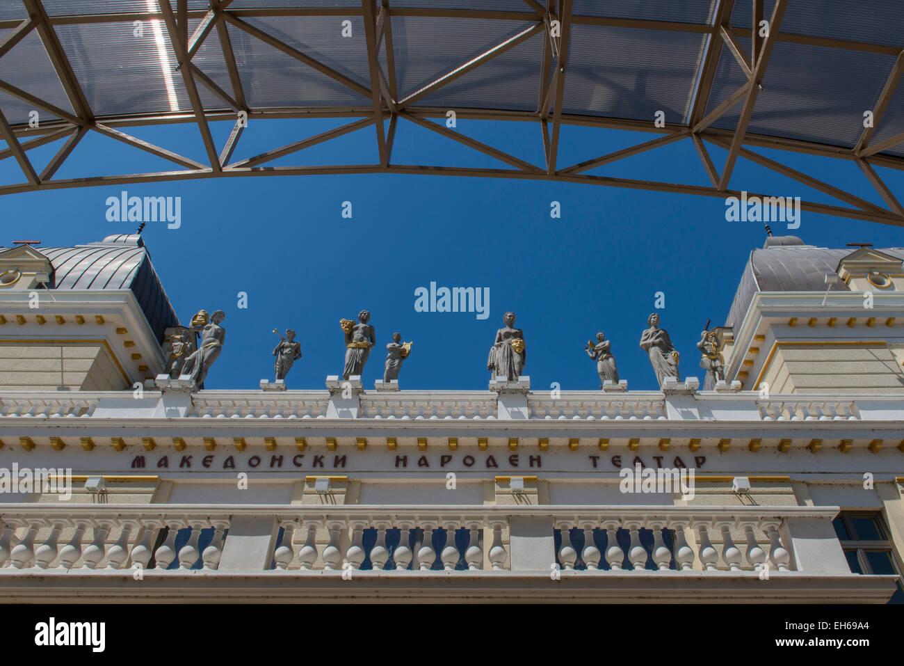 Facade Of Macedonian National Theatre, Skopje - Stock Image
