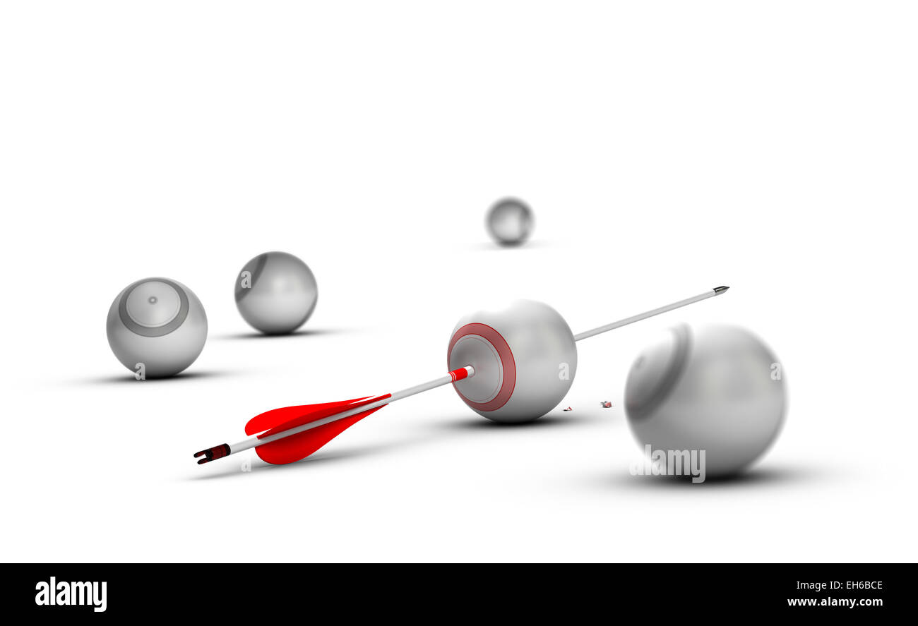 Concept image for illustration of setting goals and achieve them. Sphere targets over white background with one - Stock Image