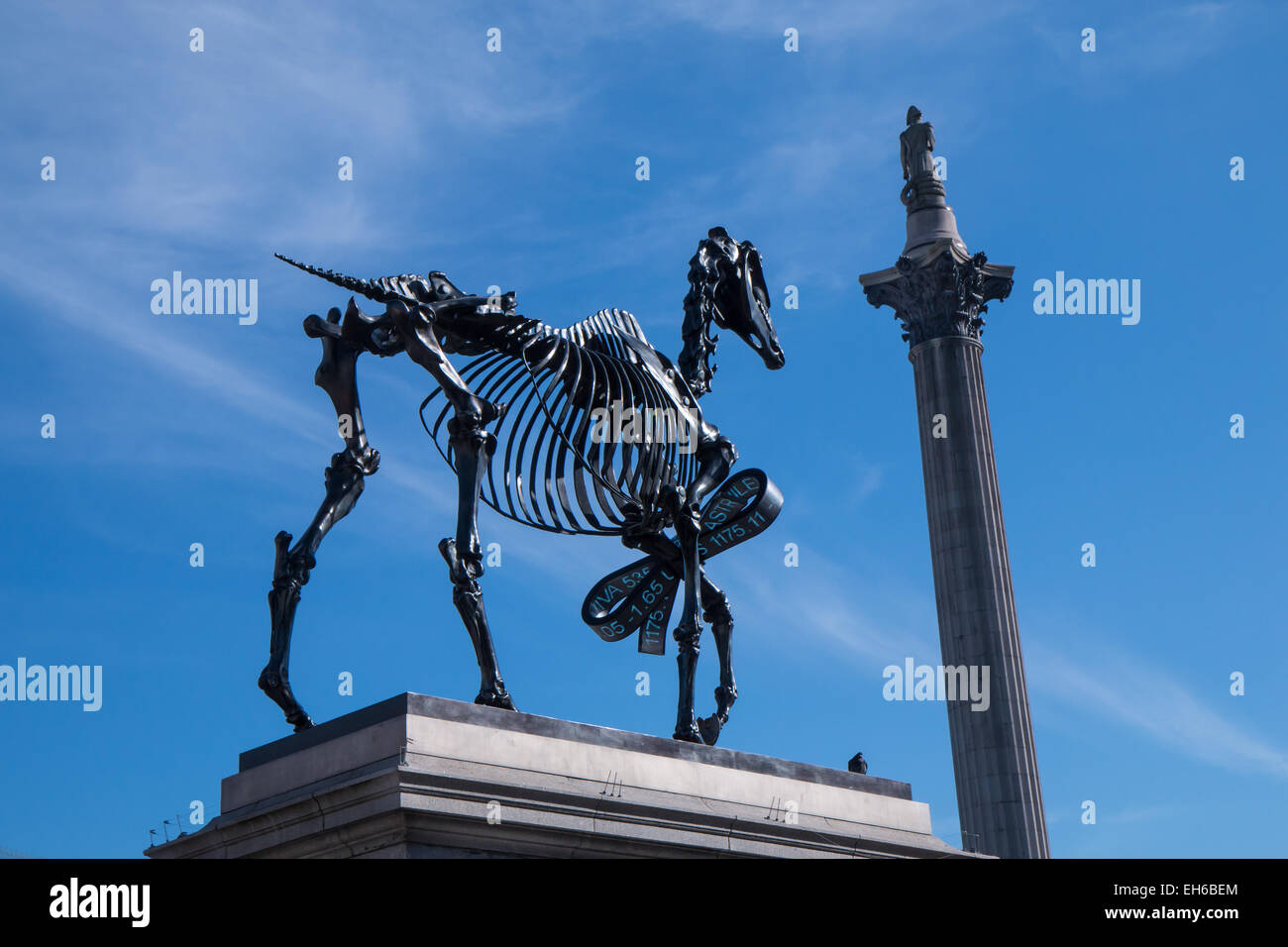 Fourth Plinth sculpture, Gift Horse by Hans Haacke in Trafalgar Square - Stock Image