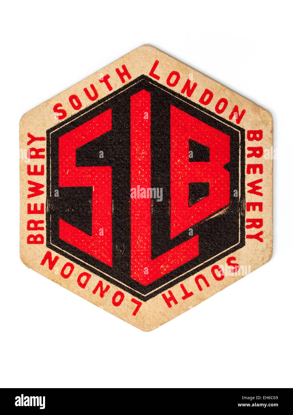 Vintage British Beermat Advertising South London Brewery - Stock Image