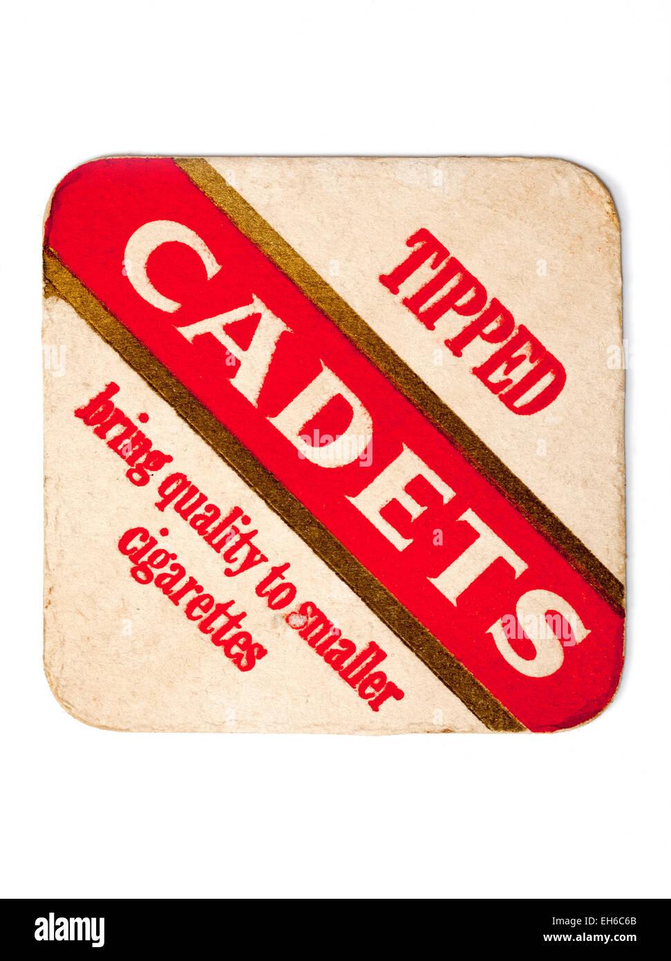 Vintage British Beermat Advertising Cadets Cigarettes - Stock Image