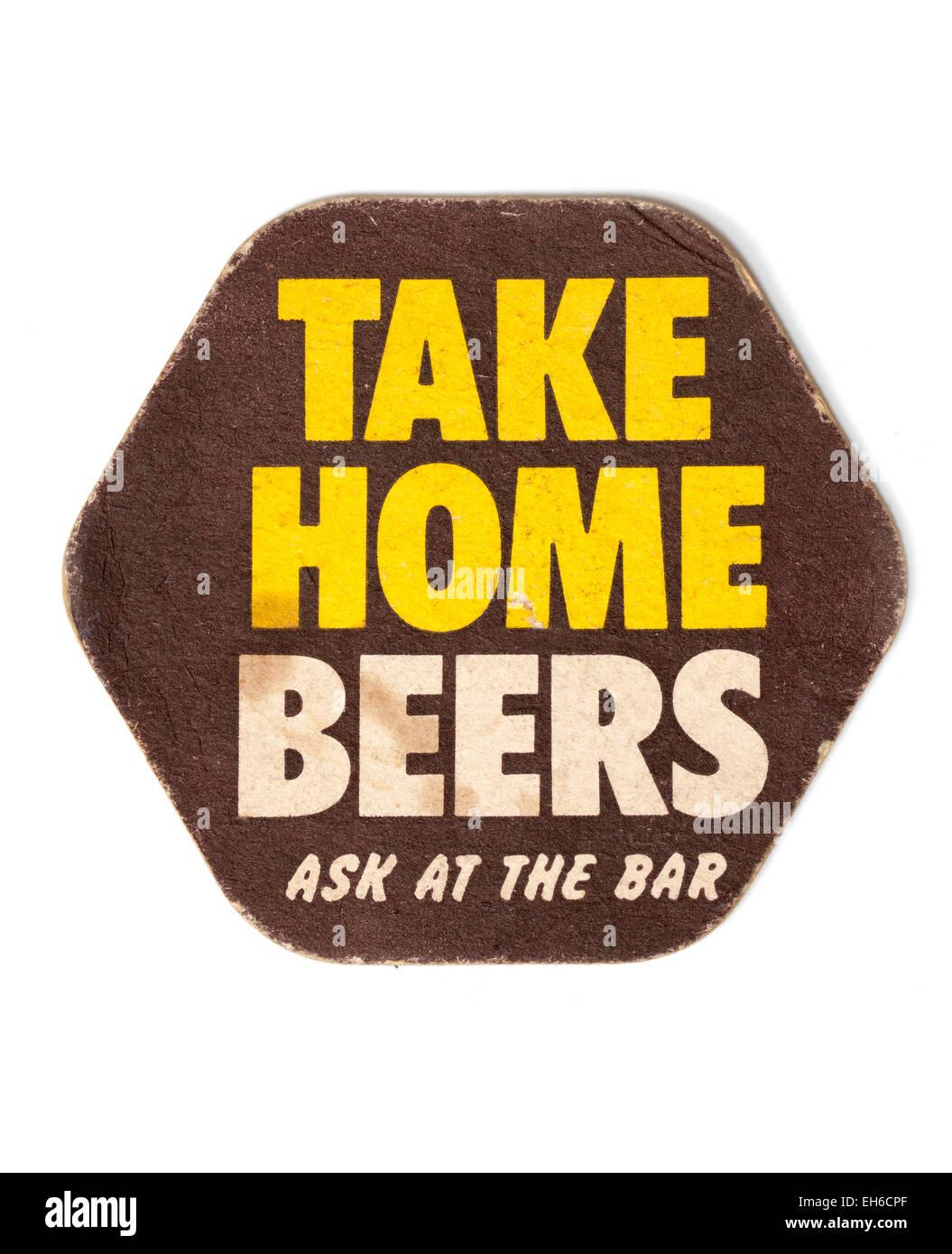 Vintage Beermat Advertising Take Home Beers - Stock Image