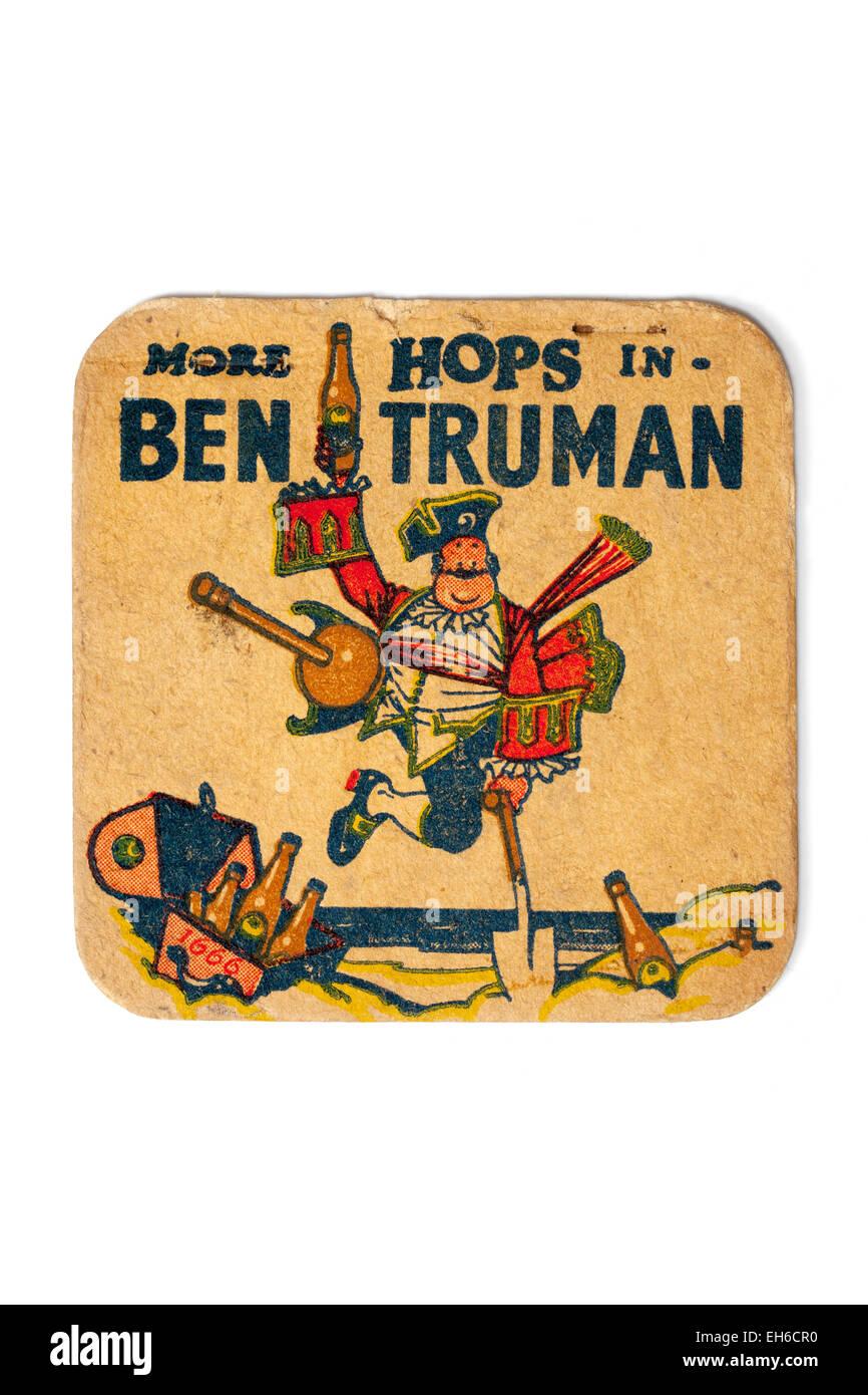 Vintage Used British Beermat Advertising Ben Truman Beer - Stock Image