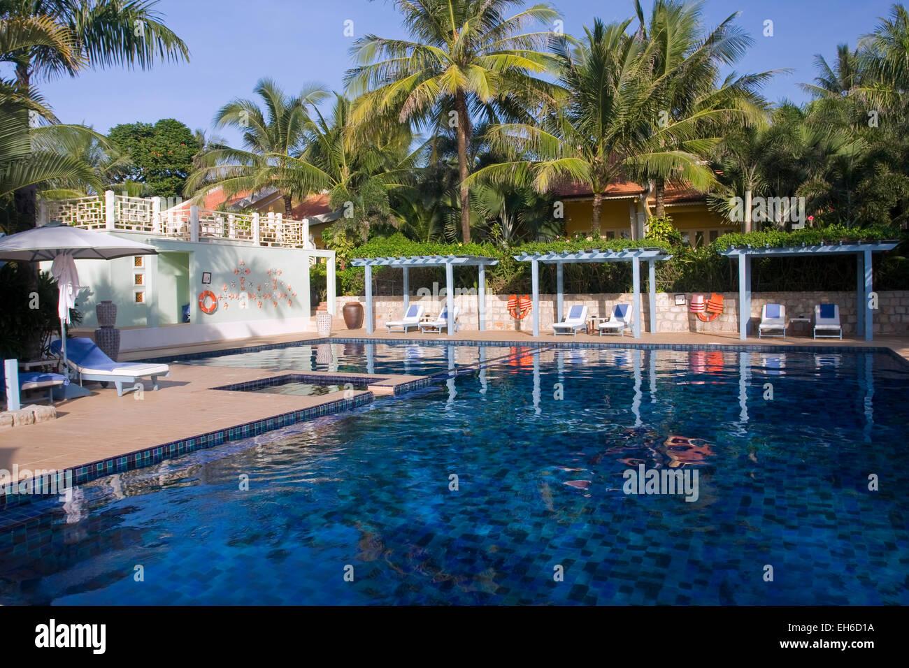 Hotel La Veranda at Long beach on the island Phu Quoc, Vietnam, Asia Stock Photo