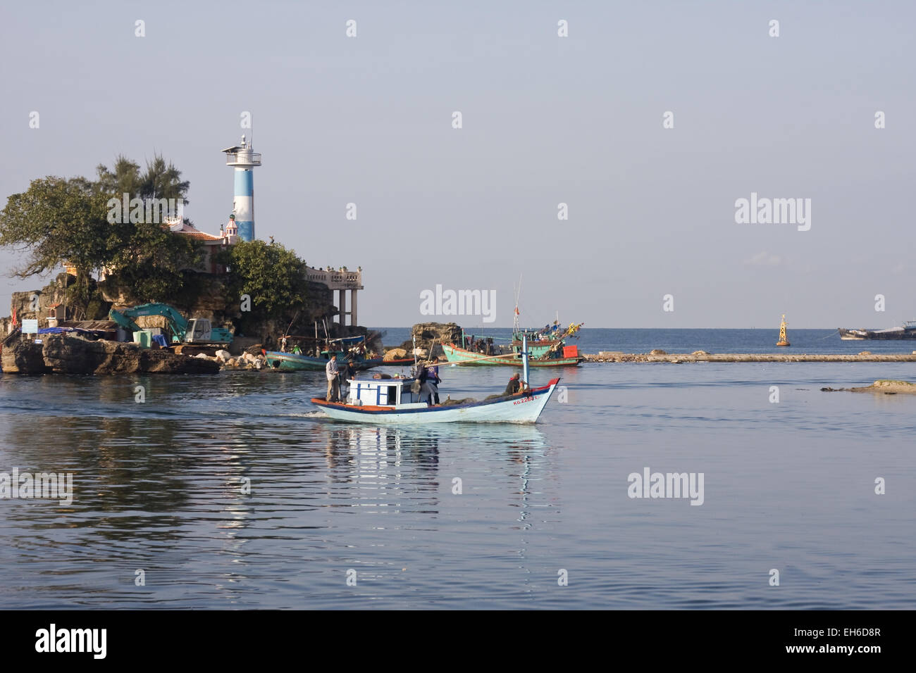 Harbor entrance with the lighthouse of Duong Dong Town on the island Phu Quoc, Vietnam, Southeast Asia Stock Photo