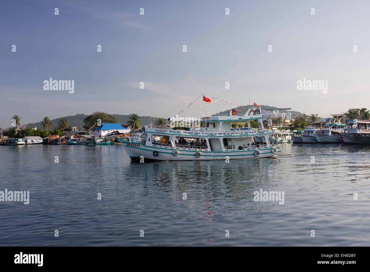 Fishingboats in Fishing port Cang An, Phu Quoc island, Vietnam, Asia Stock Photo