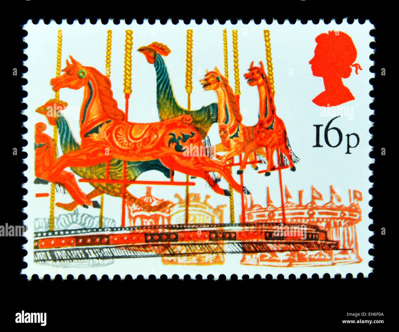 Postage stamp. Great Britain. Queen Elizabeth II. 1983. British Fairs. Merry-go-round. 16p. - Stock Image