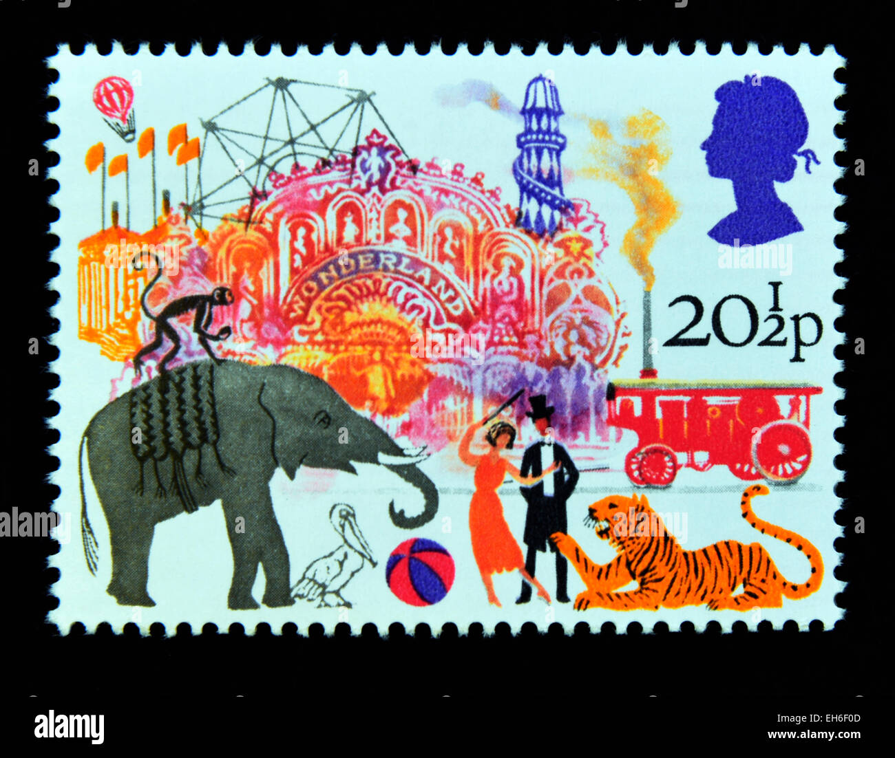 Postage stamp. Great Britain. Queen Elizabeth II. 1983. British Fairs. Big Wheel, Helter-skelter and Performing - Stock Image
