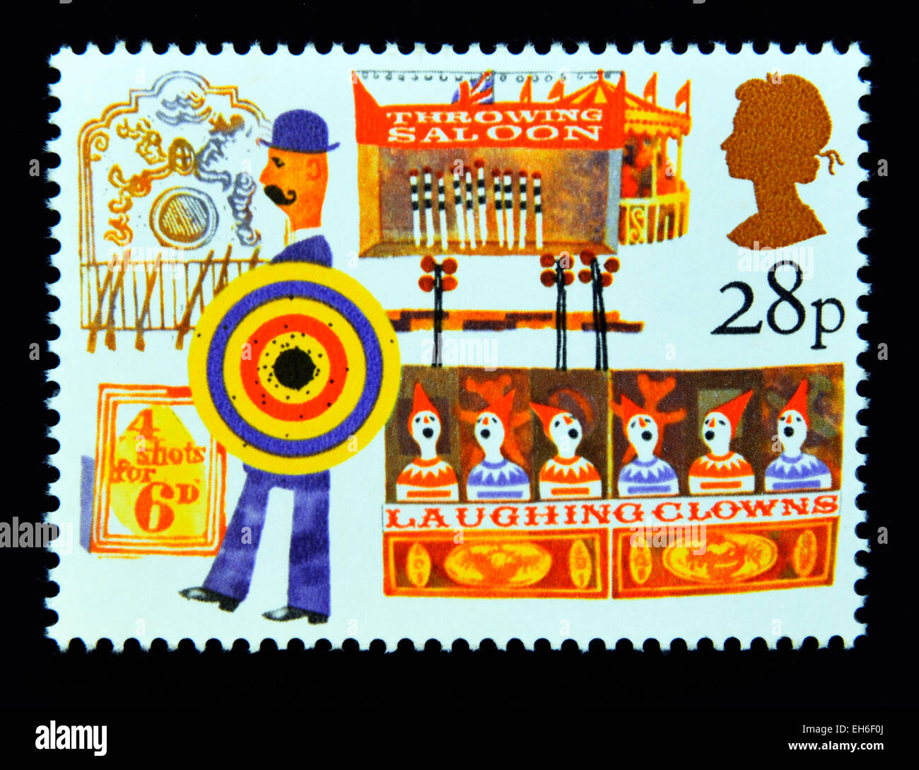 Postage stamp. Great Britain. Queen Elizabeth II. 1983. British Fairs. Side Shows. 28p. - Stock Image