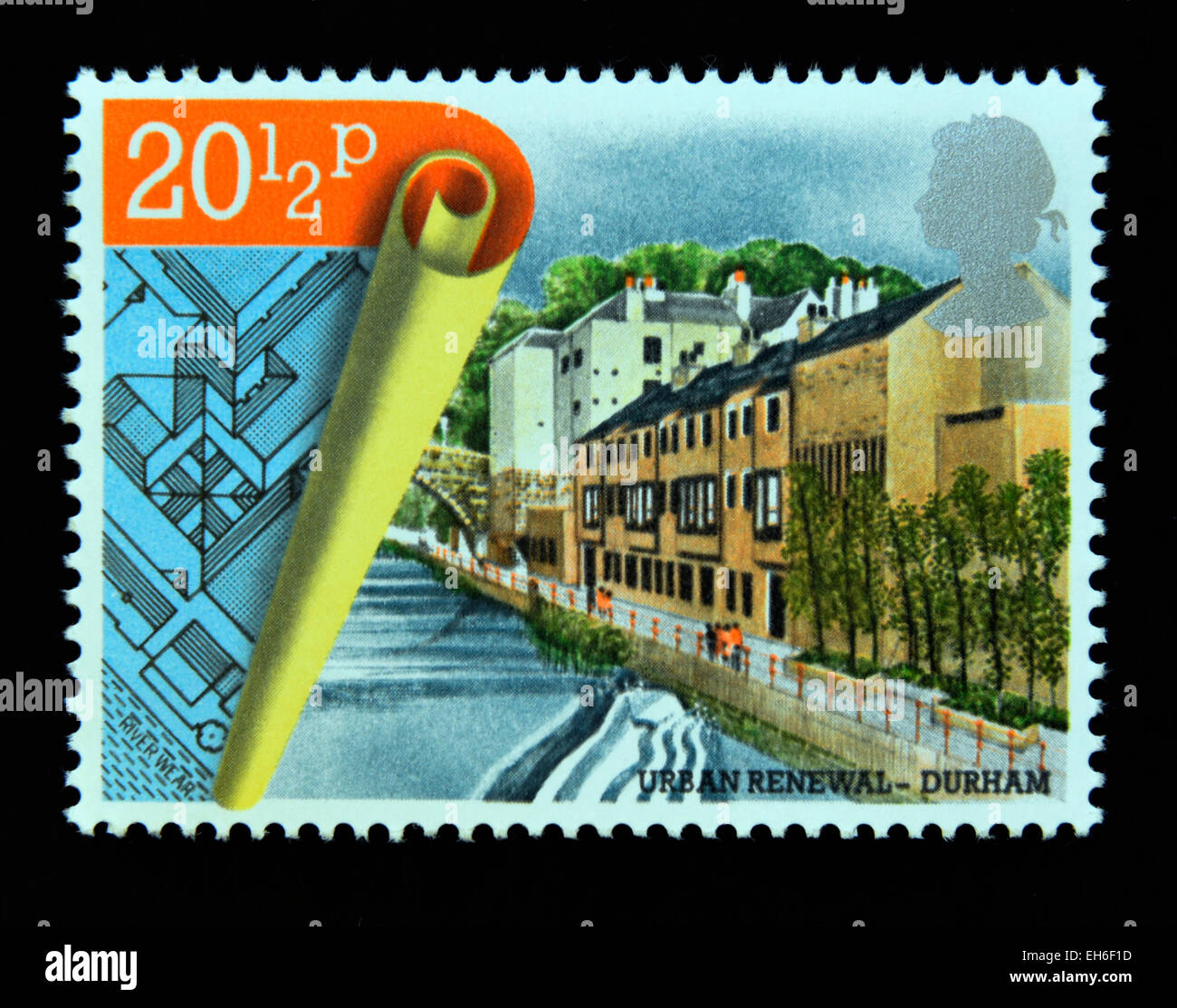 Postage stamp. Great Britain. Queen Elizabeth II. 1984. Urban Renewal. Milburngate Centre, Durham. - Stock Image