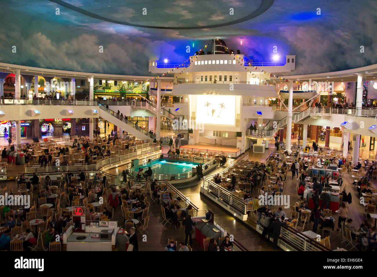 Food Court shaped like a cruise ship Trafford Centre, Manchester, UK - Stock Image