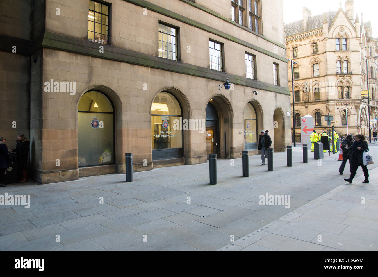 Manchester city centre police public enquiry counter - Stock Image