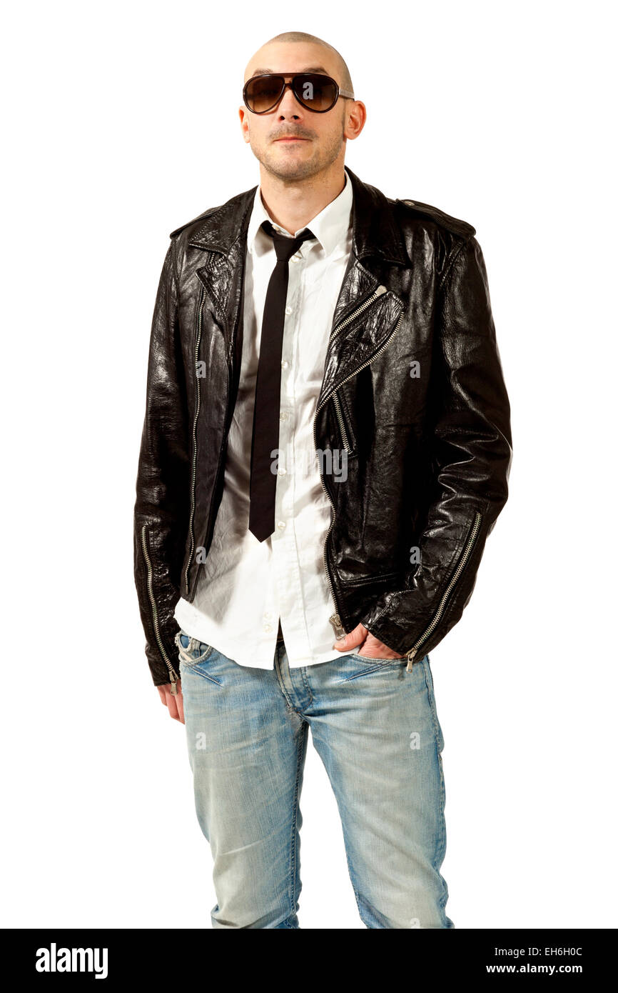 Leather Jacket And Tie Stock Photos Leather Jacket And Tie Stock