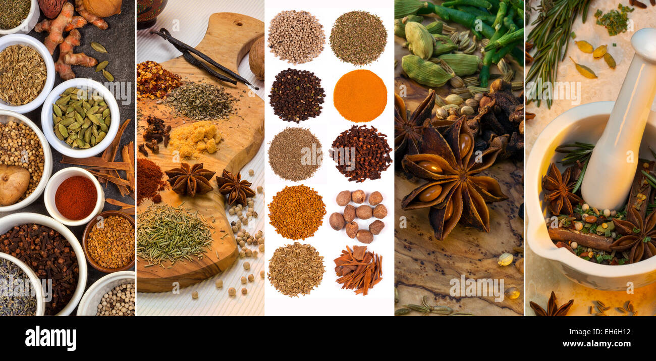 A selection spices used for flavoring and seasoning. - Stock Image