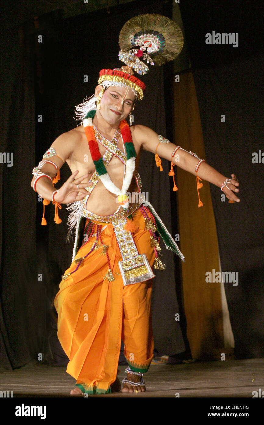 Savanabrata sircar perform Manipuri dance during Naatya tarang on April 08,2012 in Hyderabad,Ap,India. Dance since15th - Stock Image