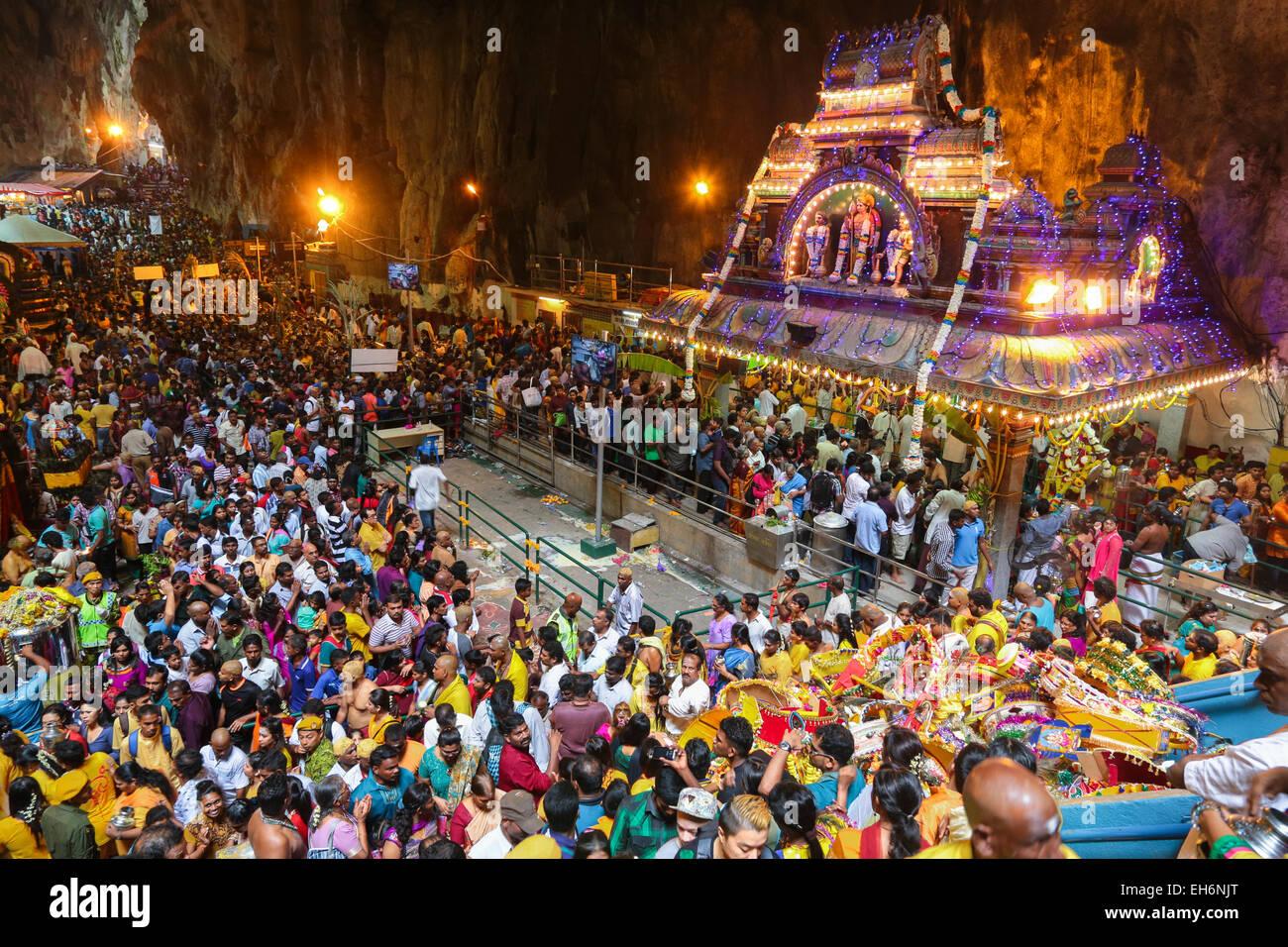 Huge crowd inside the batu cave temple, Kuala Lumpur Malaysia during Thaipusam festival on 3rd FEB 2015. Stock Photo