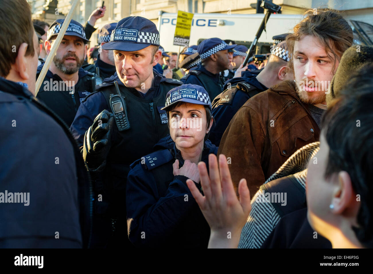 London, UK. 7th March, 2015  'Time for Action' climate change march.  Pictured: Metropolitan police officers - Stock Image