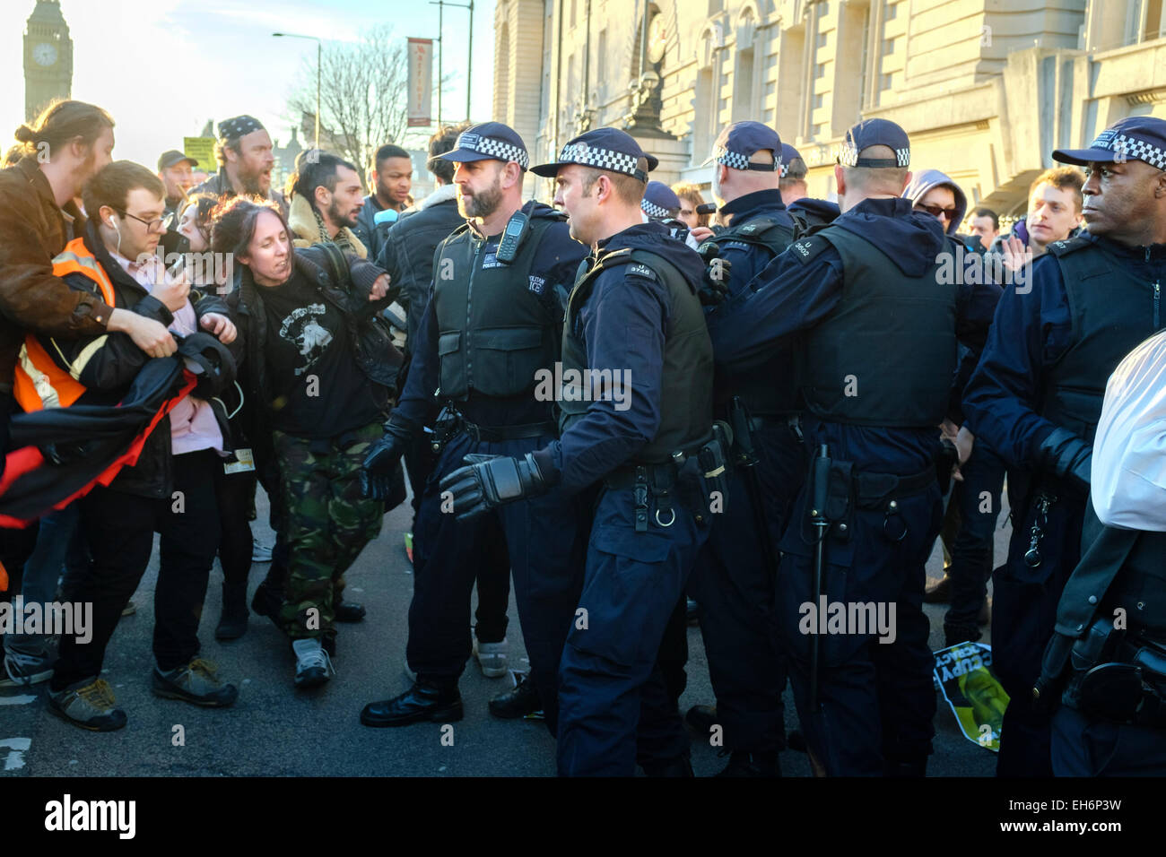 London, UK. 7th March, 2015  'Time for Action' climate change march. . Pictured: Metropolitan police officers - Stock Image