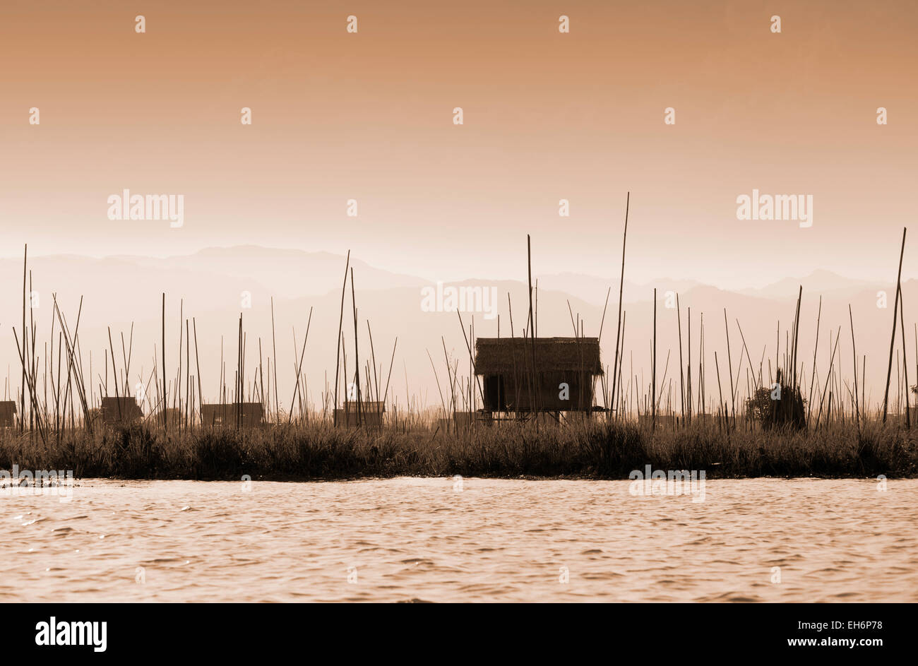 Landscape at dusk, Inle Lake, Myanmar ( Burma ), Asia Stock Photo