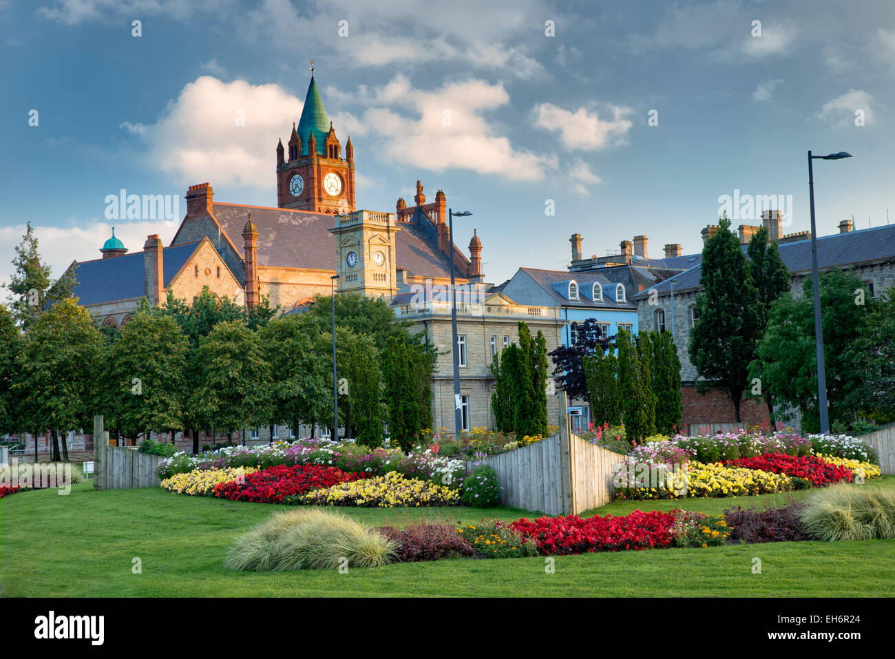 Guildhall with flower garden. Derry, Northern Ireland - Stock Image