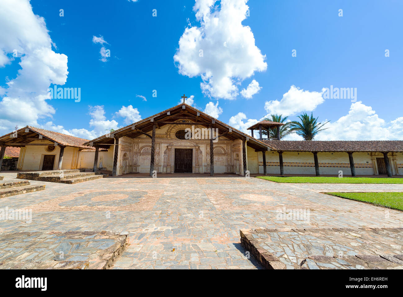 Exterior of the Jesuit Mission church in San Javier, Bolivia - Stock Image