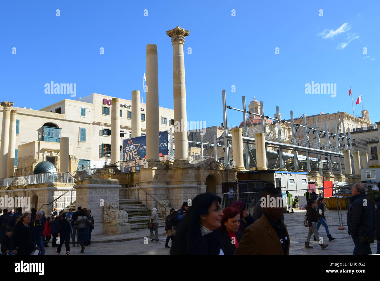 Malta, Valletta. So much history on this island that even the capital has to acccomodate ancient pillars inside - Stock Image
